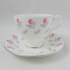 """Royal Albert Tea Cup and Saucer """"Winsome"""" with Small Pink Roses, Vintage Bone China"""