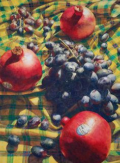 Chris Krupinski | WATERCOLOR | Pomegranates and Grapes on a Quilt