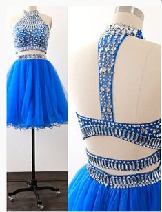 Charming Prom Dress,Blue Two Piece Homecoming Dress,Tulle Homecoming