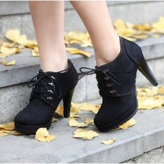 Buy Vogue Rivets Lace-up High Heel Short Boots Black with cheapest... via Polyvore