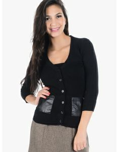 Patched Up Button Up Cardigan  Black