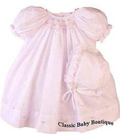 Petit Ami Girls Pink Multi Smocked Bishop Baby Dress Daygown Newborn