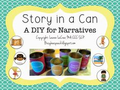 Busy Bee Speech: Story in a Can! Great for poor language students with difficulty telling stories. Pinned by SOS Inc. Resources. Follow all our boards at pinterest.com/sostherapy/ for therapy resources.