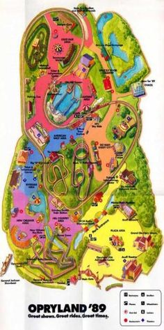 Map of Opryland, circa 1989  I miss it, great memories from Jr. High.  Oh the water rides!