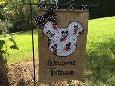 Mickey Inspired Disney Inspired  Burlap Garden Flag by Justsewso