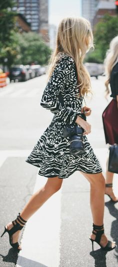 Street fashion printed dress.