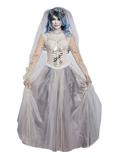 Dreamgirl Women's Dying to Marry Costume, Size: Medium, Gray Ghost Halloween Costume, Halloween Wigs, Halloween Fancy Dress, Adult Halloween, Skeleton Costumes, Halloween Stuff, Vintage Halloween, Halloween Makeup, Dead Bride Costume