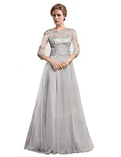 A-line Mother of the Bride Dress - Silver Floor-length Organza