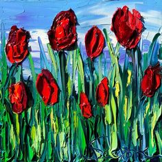 Sasik, oil on canvas x 2018 Palette Knife Painting, Buy Prints, Oil Painting On Canvas, Art For Sale, Online Art, Tulips, Original Art, Red Poppies, Etsy