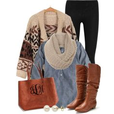 """""""Cozy in Chambray"""" I love the monogrammed leather bag!"""