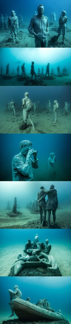 Artist Jason deCaires Taylor has created a series of sculptural installations that inhabit the ocean floor