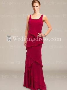Tiered Chiffon Special Guest Gown with Straps MO136
