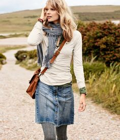 Tights & Skirt - denim skirt, scarf, white sweater, grey tights