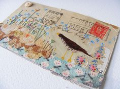 Original artwork 1946 Australian Envelope to England. Hand painted Thrush and embroidered flowers. ~ Hens Teeth