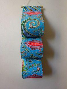 Pochettes murales rangement de 3 rouleaux de papier toilette - Bleu Turquoise Paisley motif toile en coton [1]