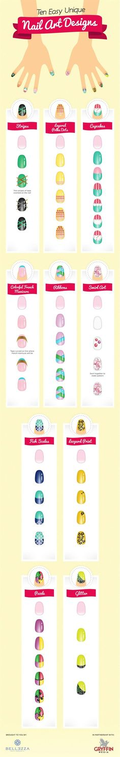 10 Nail Art Designs/Tutorials - Head over to Pampadour.com for more fun and cute nail art designs! Pampadour.com is a community of beauty bloggers, professionals, brands and beauty enthusiasts! #nails #nailpolish #polish #nailart #naildesign #cute #fun #pretty #howto #tutorial #beauty #manicure