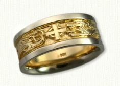 Custom Winged Dragon and Cross Wedding Band - shown in 14kt Yellow Center with 14kt White Rails