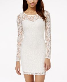 Material Girl Long Sleeve Lace Bodycon Dress - Bridal Shower - Women - Macy's