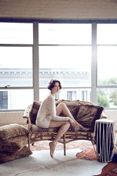 the vintage hair and furnishings with the gorgeous modern apartment...sigh