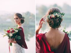 Unique Fall Bridal Outfit in Red + White