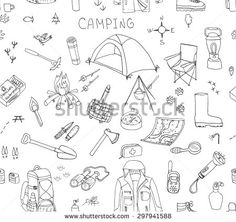 Seamless background of hand drawn camping equipment symbols and icons, hiking, mountain climbing and camping doodle elements, vector illustration, camp clothes, shoes, gear and camp associated things - stock vector