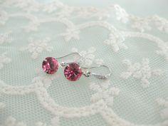 Pink swarovski crystals dangle earrings by beadpod8 on Etsy, $18.00