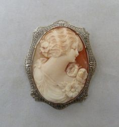 """2"""" LARGE VINTAGE VICTORIAN DECO 14K WHITE GOLD FILIGREE CARVED SHELL CAMEO PIN"""