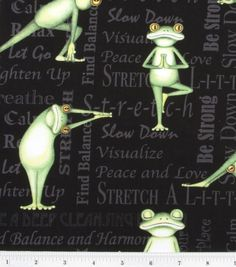 Novelty Cotton Fabric Yoga Frogs - This is pretty darn cute.