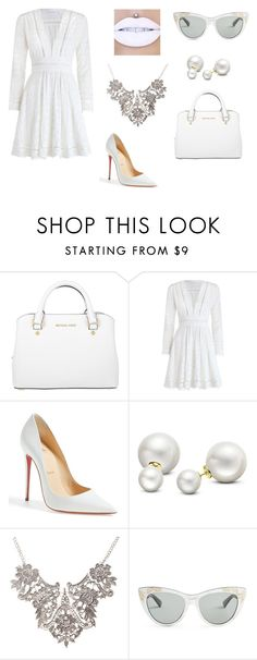 """White"" by oliviaf14 on Polyvore featuring Michael Kors, Zimmermann, Christian Louboutin, Allurez and Gucci"