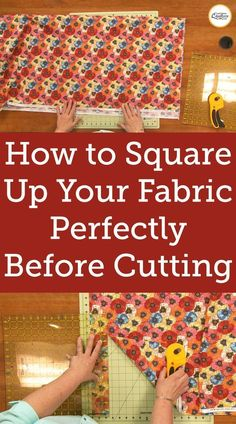 Learn how to square up fabric before cutting any pieces for your next quilt - especially when dealing with longer strips. Learn how to square up fabric before cutting any pieces for your next quilt - especially when dealing with longer strips. Easy Sewing Projects, Sewing Projects For Beginners, Sewing Hacks, Sewing Tutorials, Sewing Tips, Sewing Crafts, Sewing Ideas, Diy Projects, Sewing Lessons