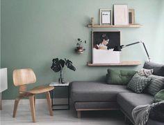 mur couleur vert pastel, canapé gris, deco salon moderne aux lignes épurées, atmosphère zen et artistique