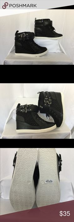 🌺Torrid Black Wedge Sneakers- Brand New 🌺 🌺 A gorgeous pair of brand new Wedge sneakers with the original box. Black faux leather; ankle straps; black faux leather trim with side zip for easy closure 🌺 torrid Shoes Sneakers