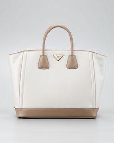 $1890  Saffiano Large Bi-Color Tote Bag, Talco/Visone by Prada at Neiman Marcus.