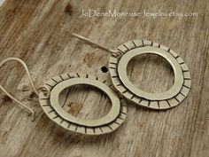 Circles and stripes earrings, hand fabricated in sterling silver $42.00 by JoDeneMoneuseJewelry on Etsy