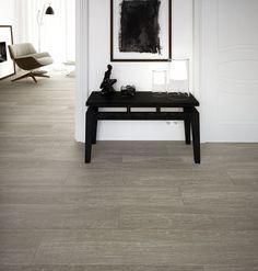 Alpine Oak Smoke porcelain tiles in the hallway/living room Wood Effect Porcelain Tiles, Wood Effect Tiles, Living Room Flooring, Kitchen Flooring, Water Underfloor Heating, Grey Wood Tile, Tile Showroom, Tiles For Sale, Wall And Floor Tiles