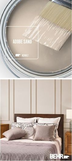 Popular Bedroom Paint Colors that Give You Positive Vibes variety of ways throughout your home. Get inspired to refresh your interior design scheme with the BEHR®️️️️ Paint Color of the Month by clicking below. Behr Paint Colors, Interior Paint Colors, Paint Colors For Home, House Colors, Warm Paint Colors, Interior Painting, Sand Color Paint, Interior Color Schemes, Purple Interior
