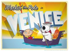 These Family Guy Road to . Lithograph Prints are a tribute to the Family Guy Road Show episodes, which in turn are a parody of the Road to. Brian Family Guy, Stewie Griffin, Child Please, I Have A Secret, Venice Travel, Comedy Films, Kids Toys, Art Gallery, Childhood