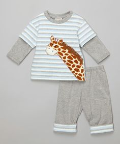 Another great find on #zulily! Blue Giraffe Top & Pants - Infant by cachcach #zulilyfinds