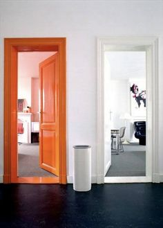 "Could be fun to paint one door a color, so it's easy to say ""go down the hall and look for the ____ door"""