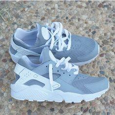 09ed1f9558 Grey Nike Huarache Run Triple White Custom by NYCustoms on Etsy https   www