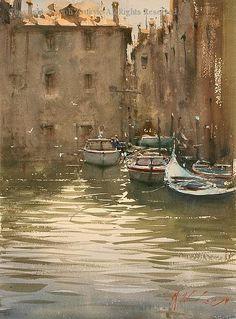 Venetian Blues - Watercolor by Joseph Zbukvic