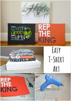 Easy T-shirt Art --recycling old graphic t-shirts into wall art.staple cut up old t-shirts onto canvas or even shoe box lids! (can staple shoe box lids to customize bigger sizes.will get covered up, so won't see where joined) can use batting if want