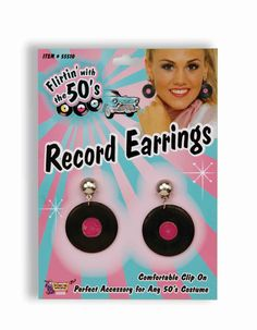 Travel back to the age of the jukebox and enjoy these Flirtin' with the 50's Record Earrings. They're clip on and comfortable. Perfect for stage shows, costume parties, or your collection of the 50's!