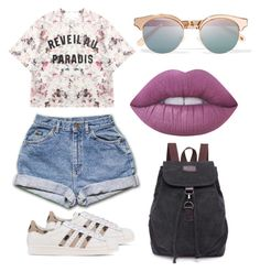 """""""Daily Outfit"""" by camilabonillac on Polyvore featuring Momewear, adidas Originals, Le Specs and Lime Crime"""