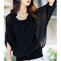 Stylish Scoop Neck Bat-Wing Sleeve Solid Color Sequin Embellished Loose-Fitting Chiffon Blouse For Women
