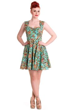 Rockabilly Love Calavera Day of the Dead Flower Sugar Skull Turquoise Dress