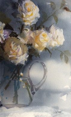 Geoffrey Wynne Acuarelas - Watercolours: ROSAS AMARILLAS - YELLOW ROSES