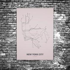 New York City C8 - Acrylic Glass Art Subway Maps (Acrylglas, Underground)