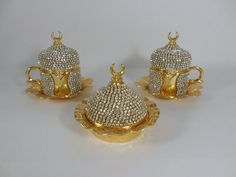 Authentic Style Solid Swarovski Coated GOLD Copper Turkish Coffee Espresso Serving Set: 2 Cups - 1 Sugar Bowl