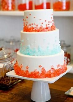 Rock Candy On Cake: I love rock candy. It looks beautiful whether you use it as fun party decoration or as classy wedding decorations, it always seems to draw attention.